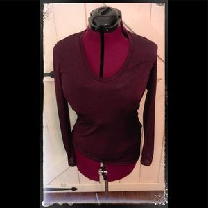 Small A/X Maroon Sheer Uneven Hem Zipper Top!